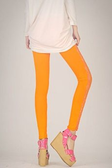 Оранжевые легинсы с кружевом Kokette со скидкой